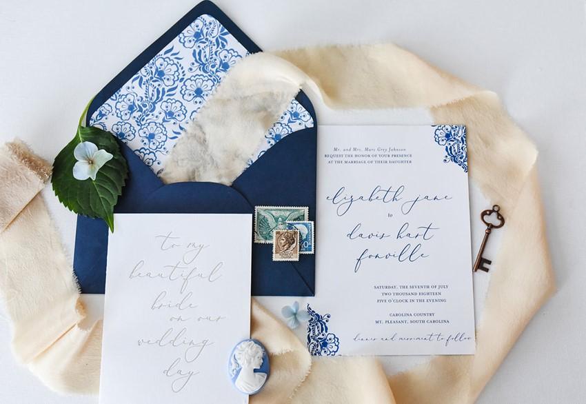 Blue Vintage Wedding Stationery