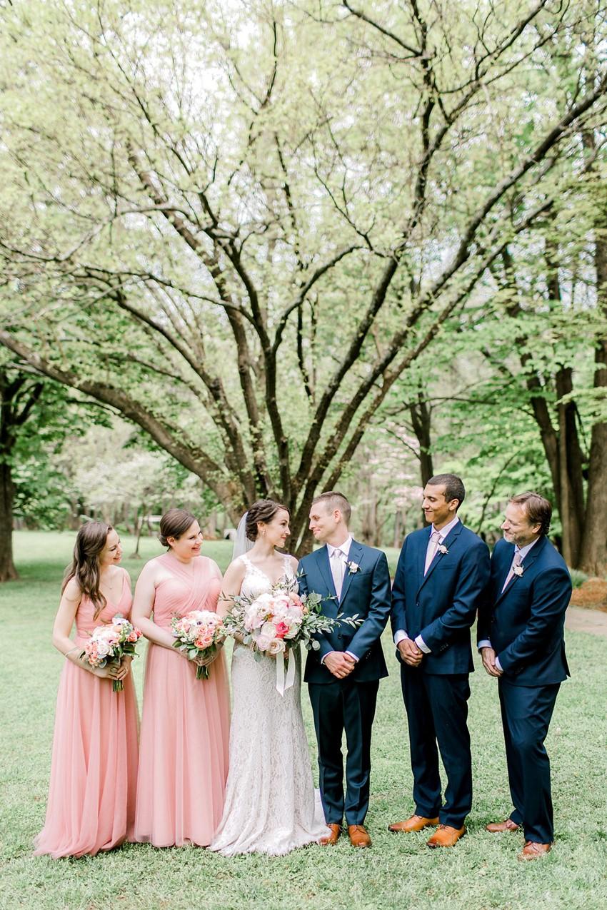 Romantic Blue & Pink Garden Wedding Party