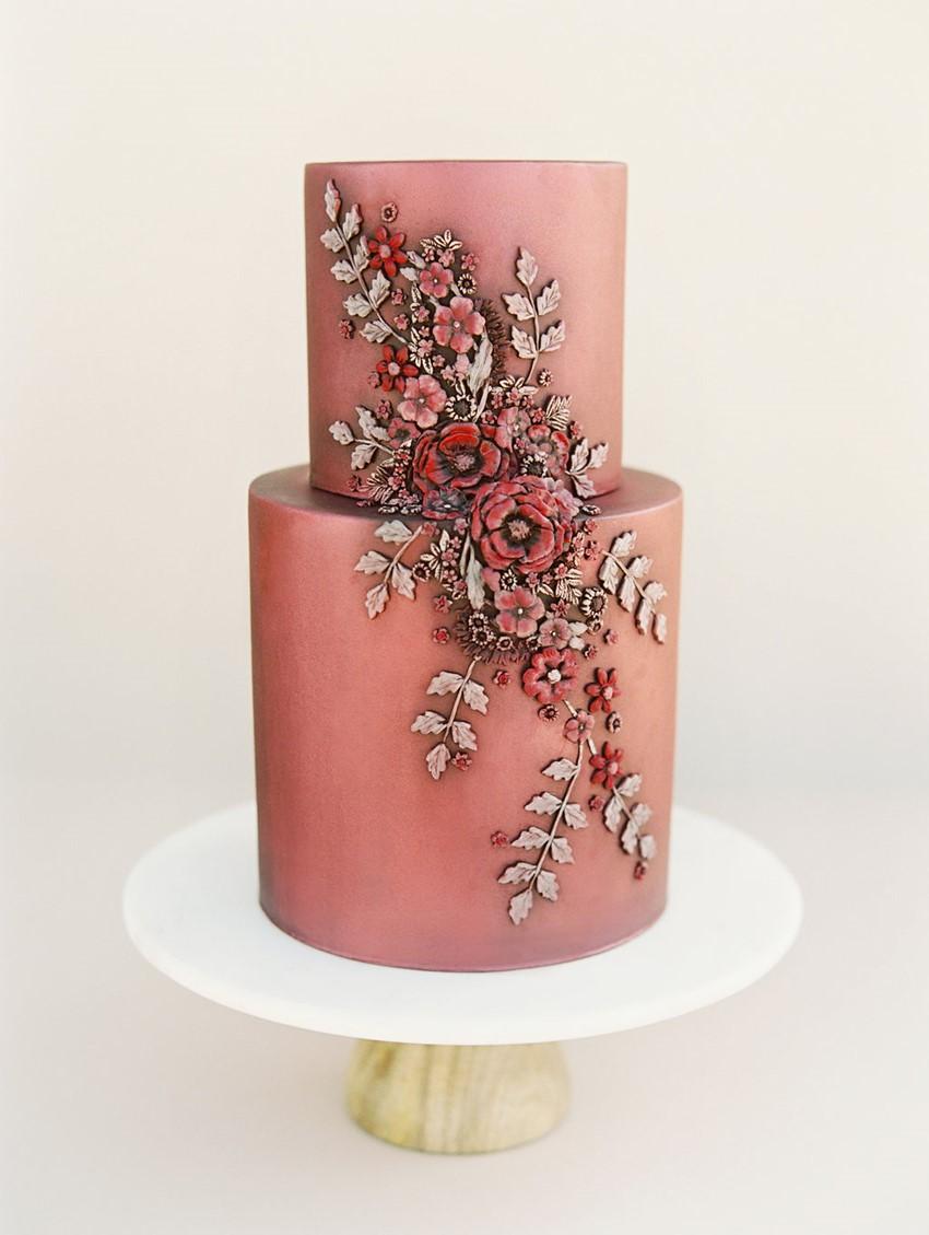 Modern Vintage Fall Wedding Cake
