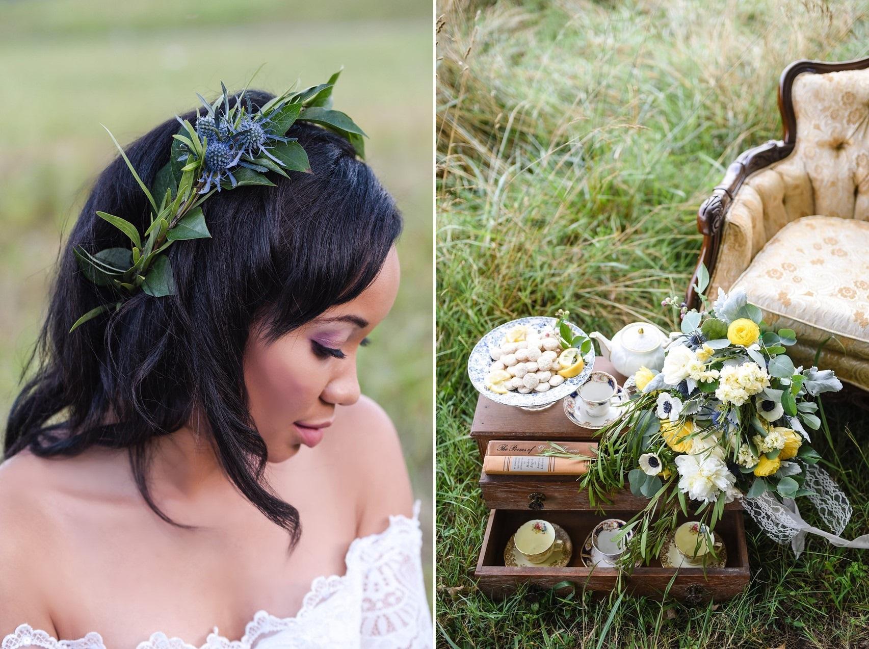 Vintage Inspired Bride in a Floral Crown