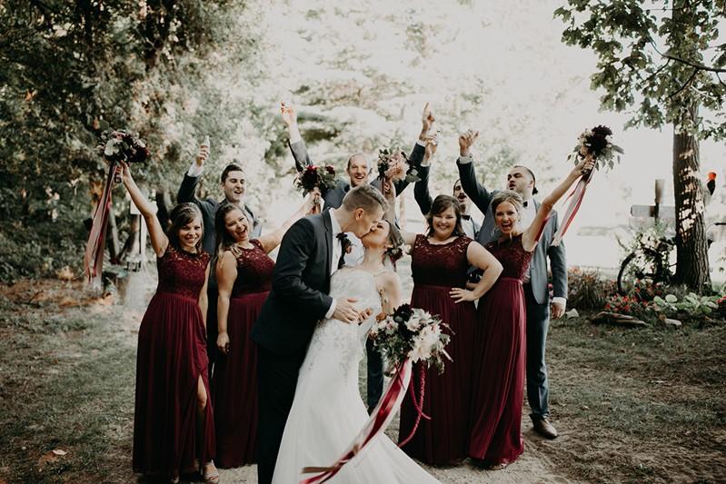 Canada Fall Backyard Wedding Bride & Bridesmaids