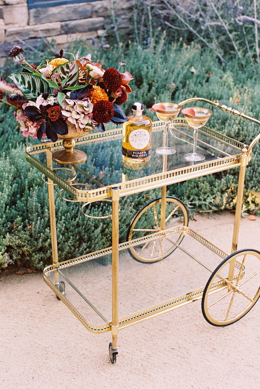 Modern Vintage Fall Wedding Bar Cart