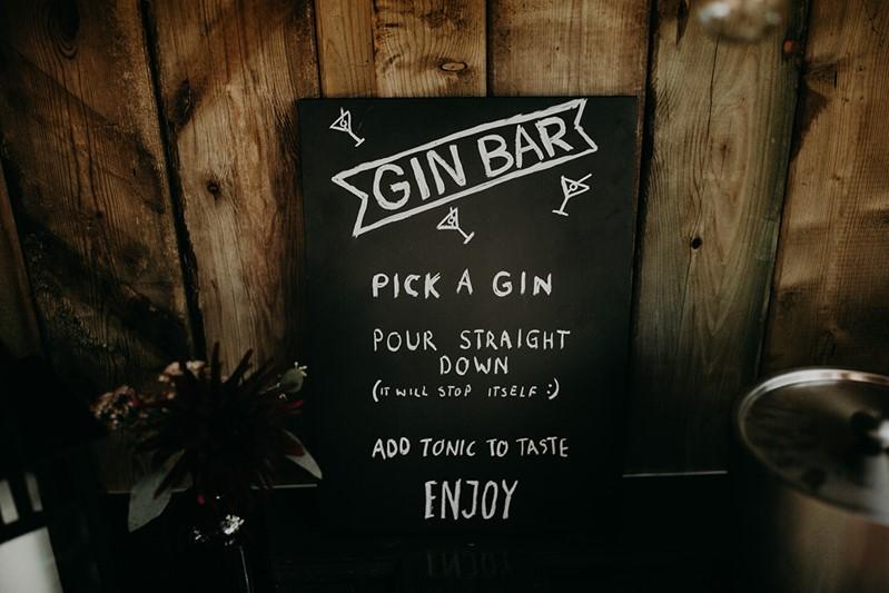 Canada Fall Greenhouse Wedding Gin Bar