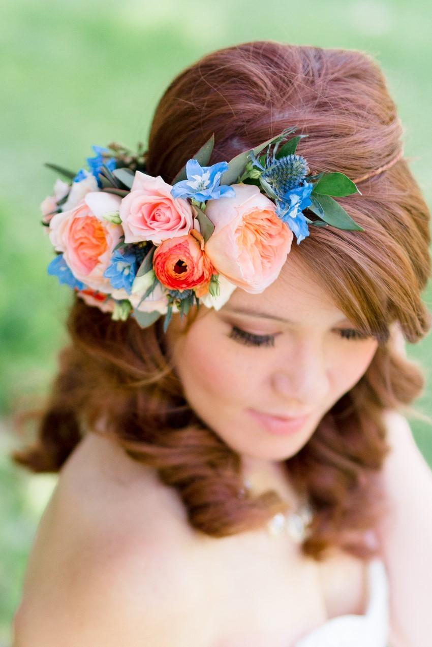 Asymmetric Bridal Flower Crown