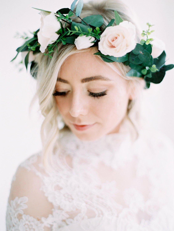 Lush Green & Pale Pink Bridal Flower Crown