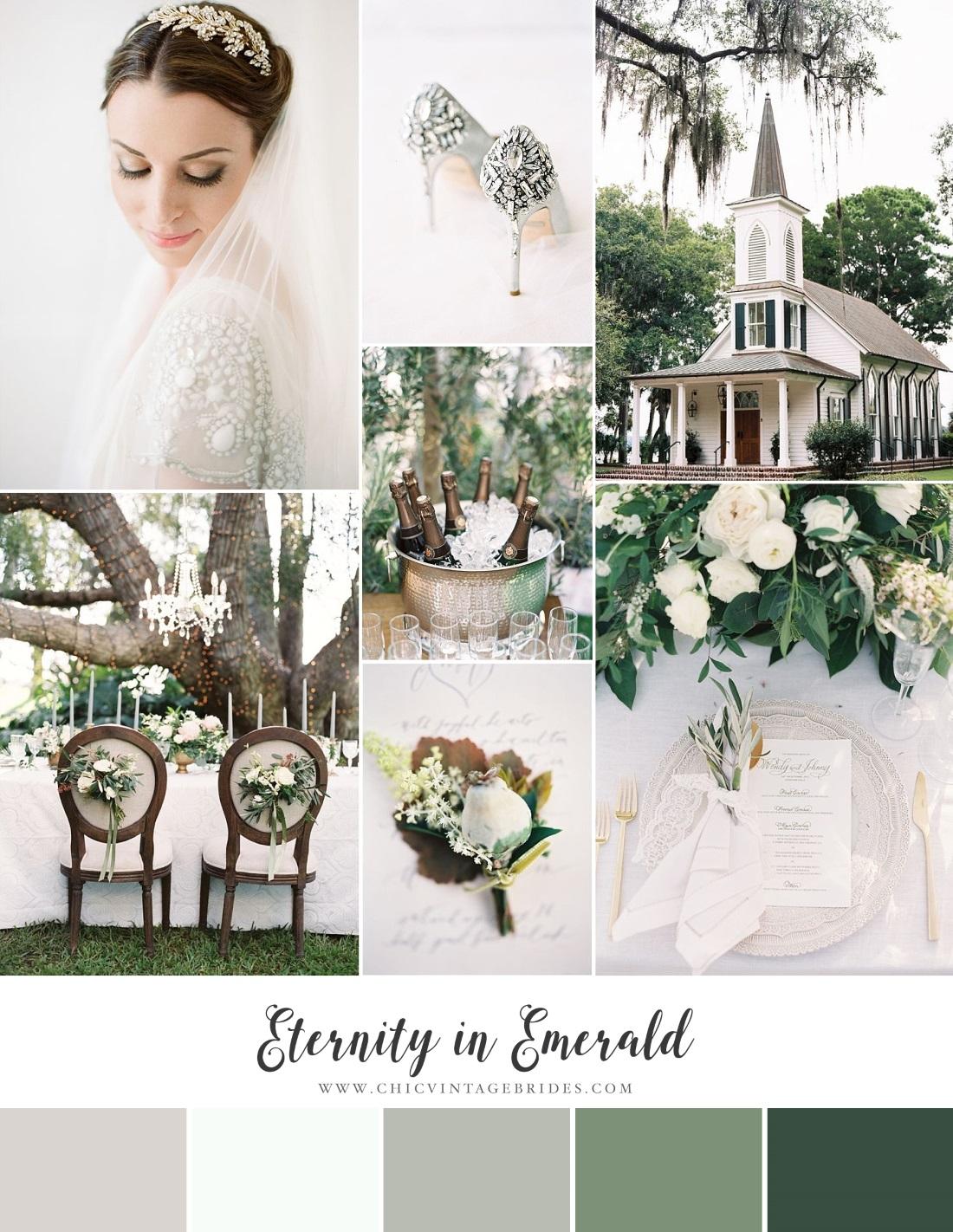 Timeless Emerald Wedding Inspiration Board