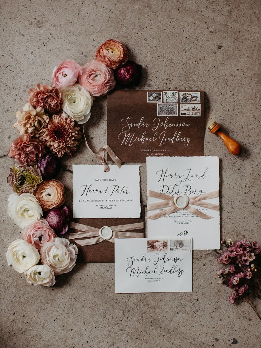 Bronze Calligraphy Wedding Invitation Suite