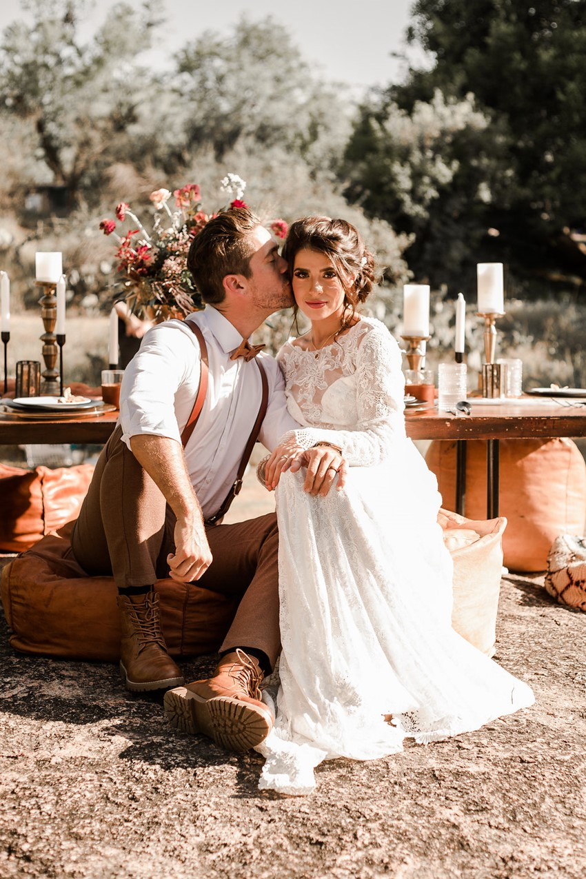 Boho Vintage Fall bride & Groom