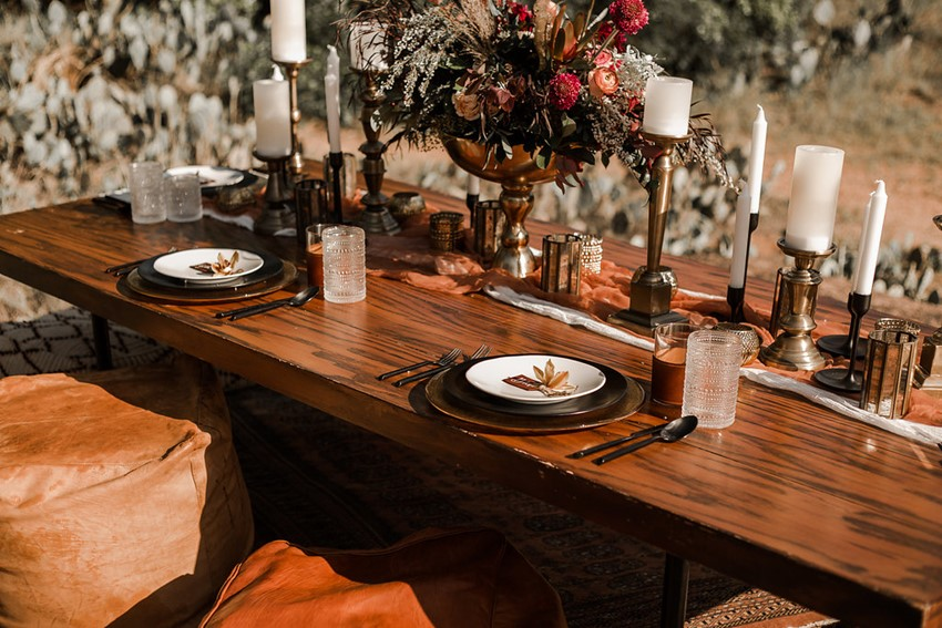 Boho Vintage Fall Wedding Table