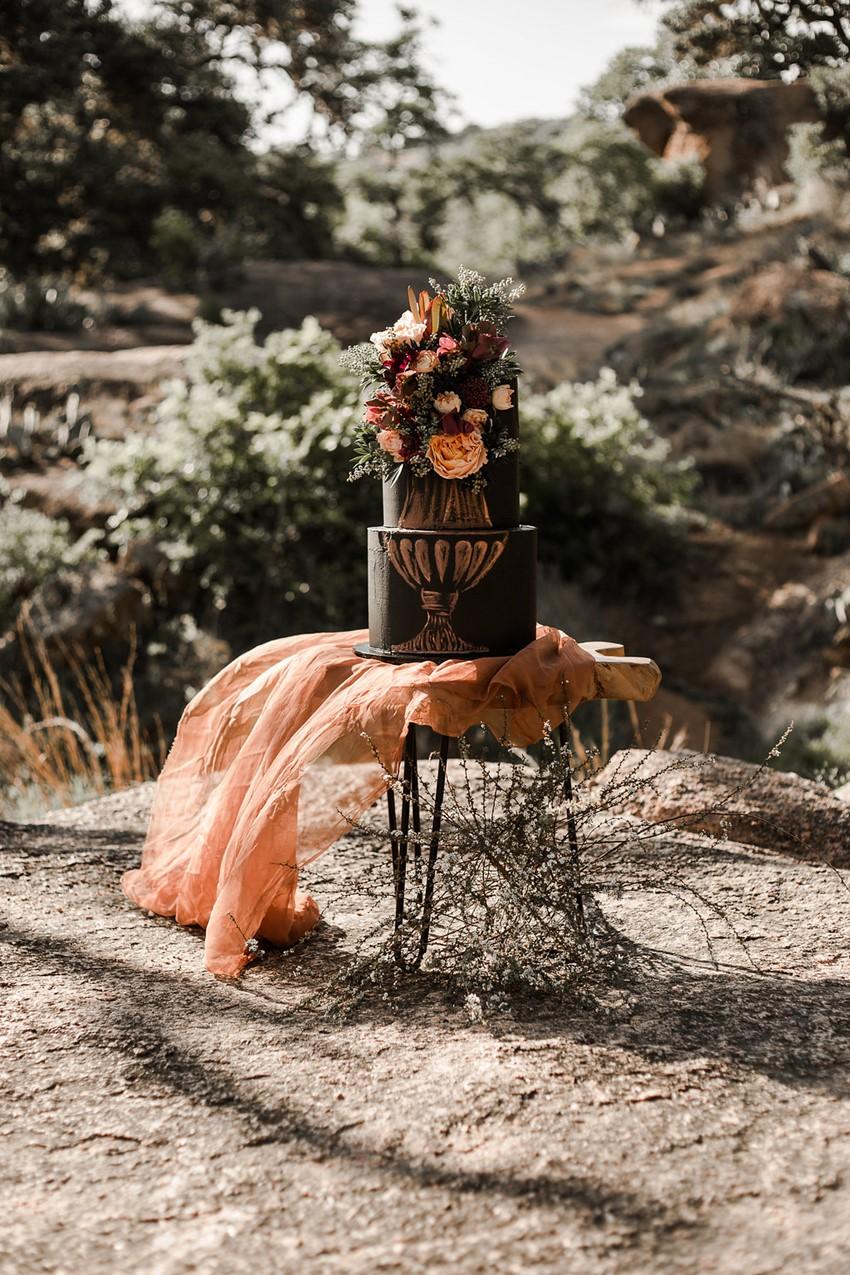 Boho Vintage Fall Black Wedding Cake
