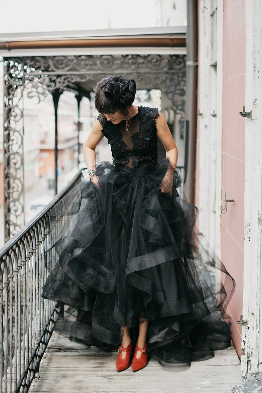 Black Wedding Dress & Red Bridal Shoes