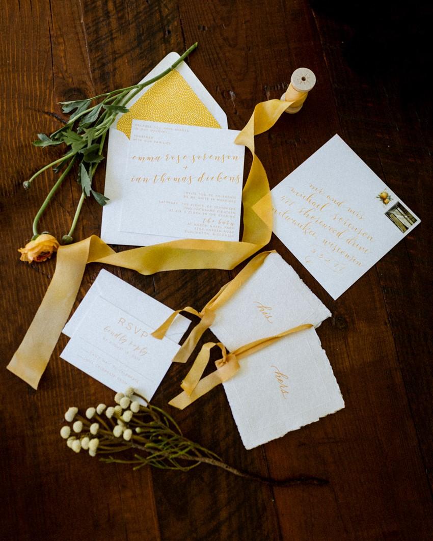 Yellow Calligraphy Wedding Invitation
