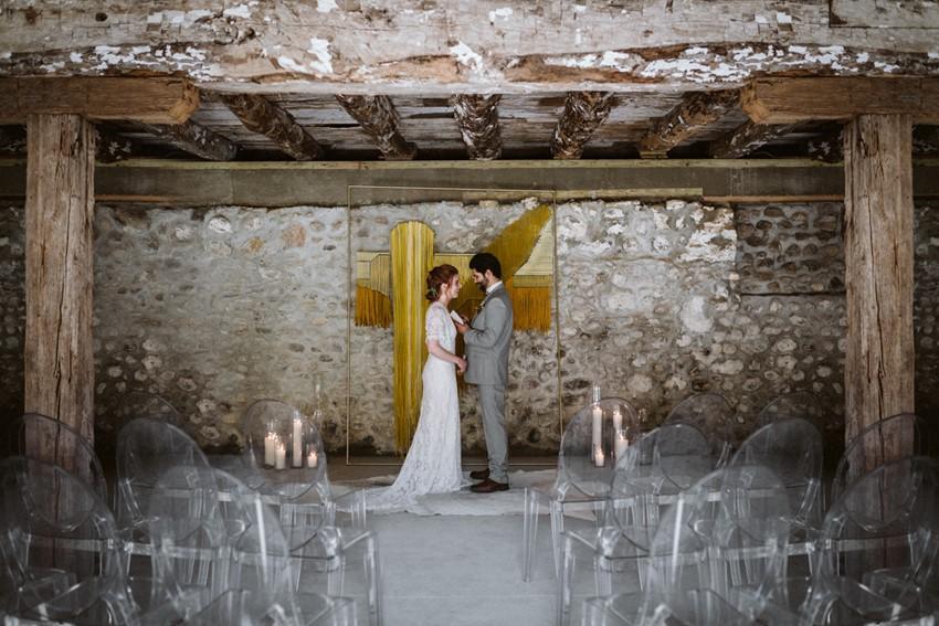 Yellow Mid Century Modern Wedding Ceremony Backdrop