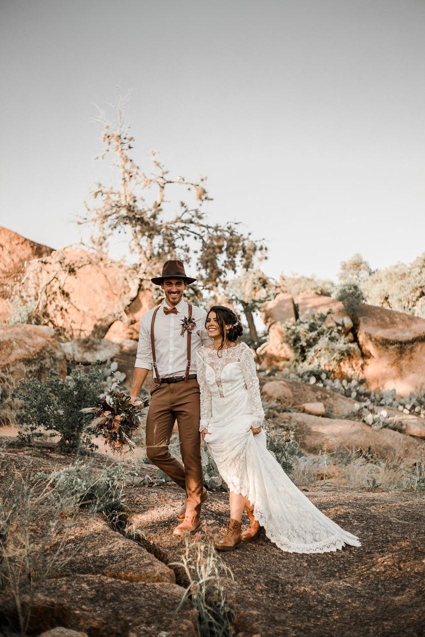 Boho Vintage Fall Desert Elopement