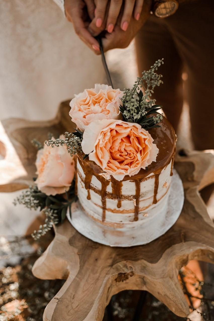Boho Vintage Fall Drizzle Wedding Cake