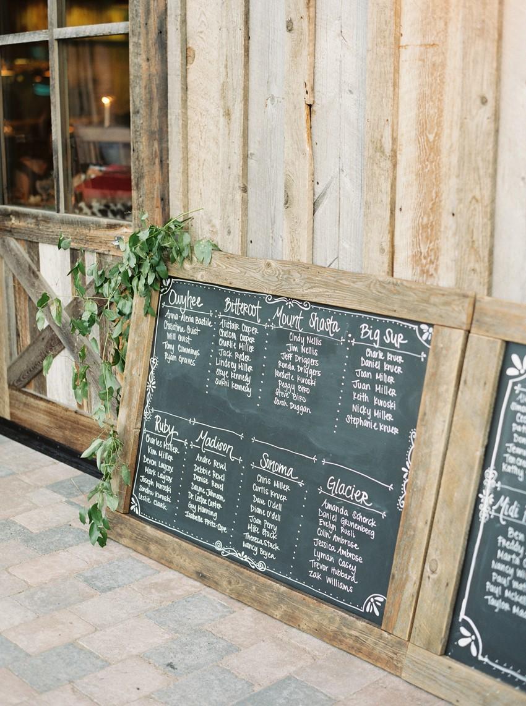 Rustic Chalkboard Wedding Seating Chart