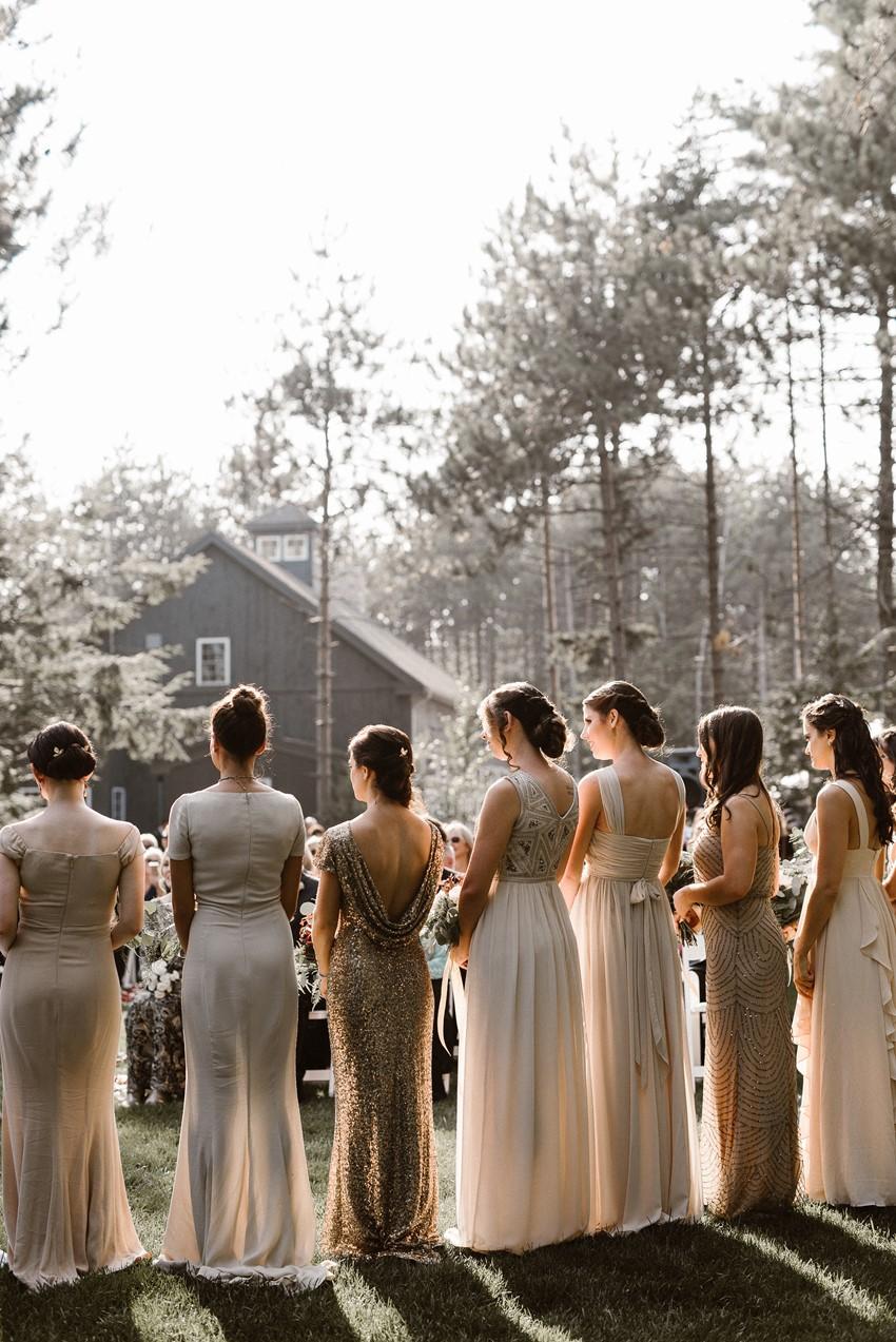 Neutral Mismatched Bridesmaids