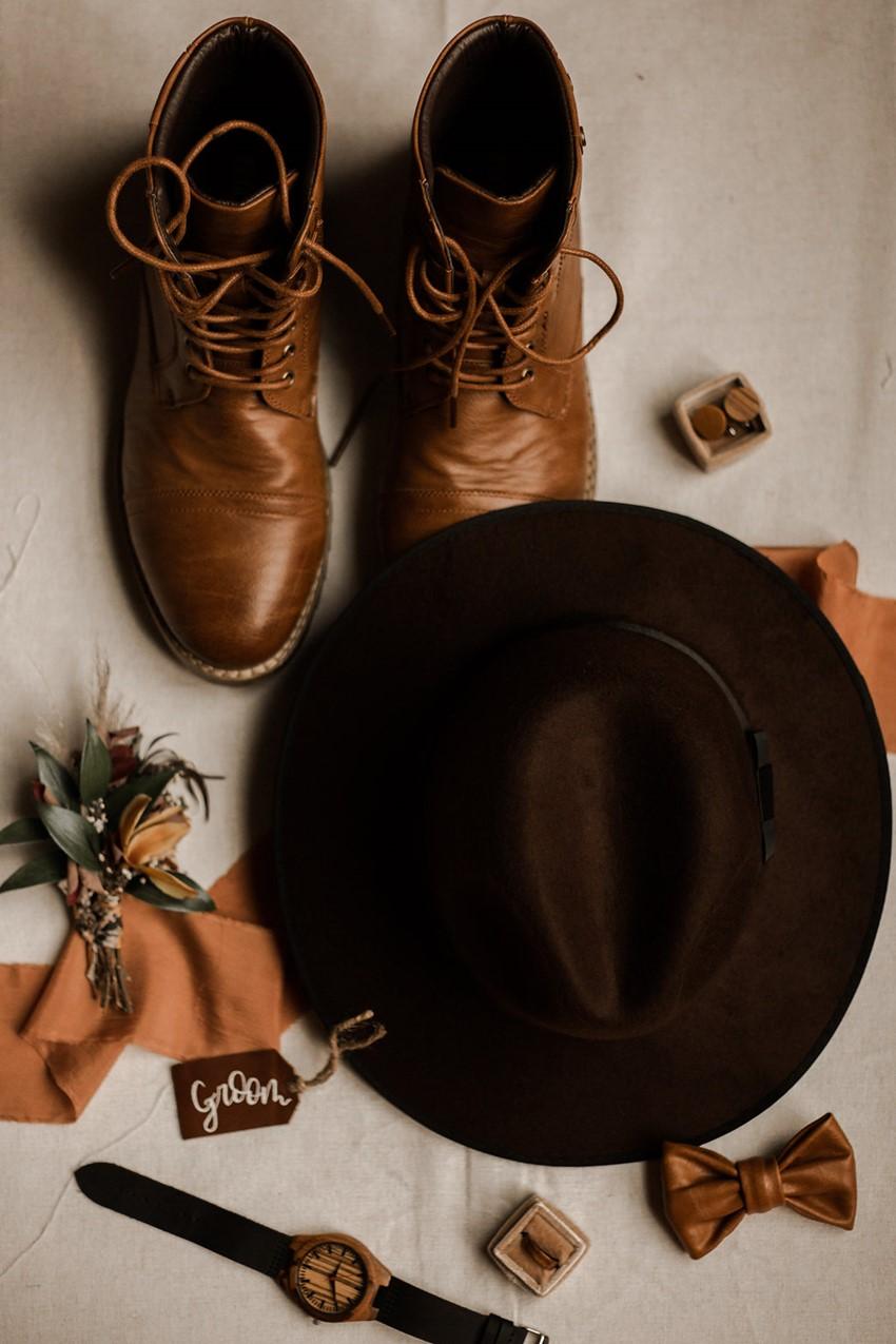 Boho Vintage Fall Groom's Accessories
