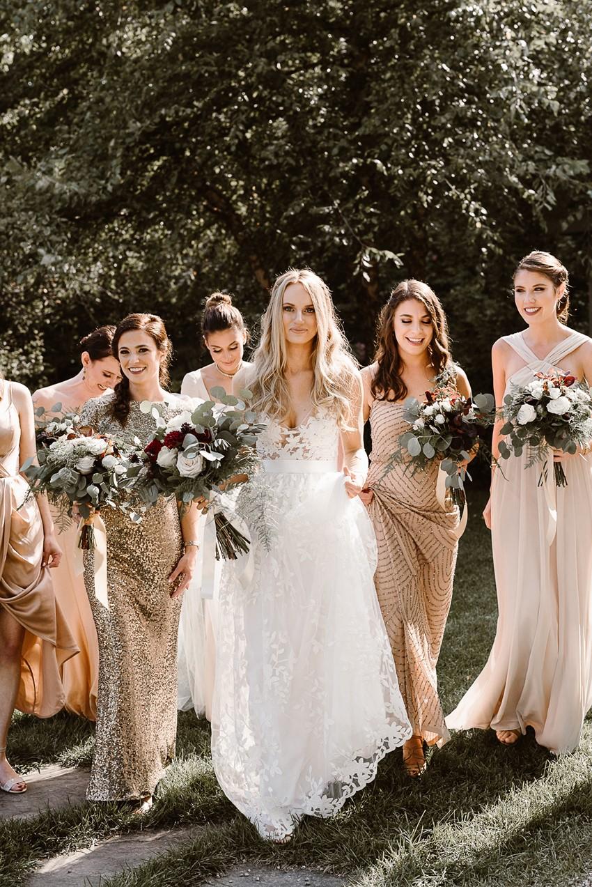 Bride & Mismatched Neutral Bridesmaids
