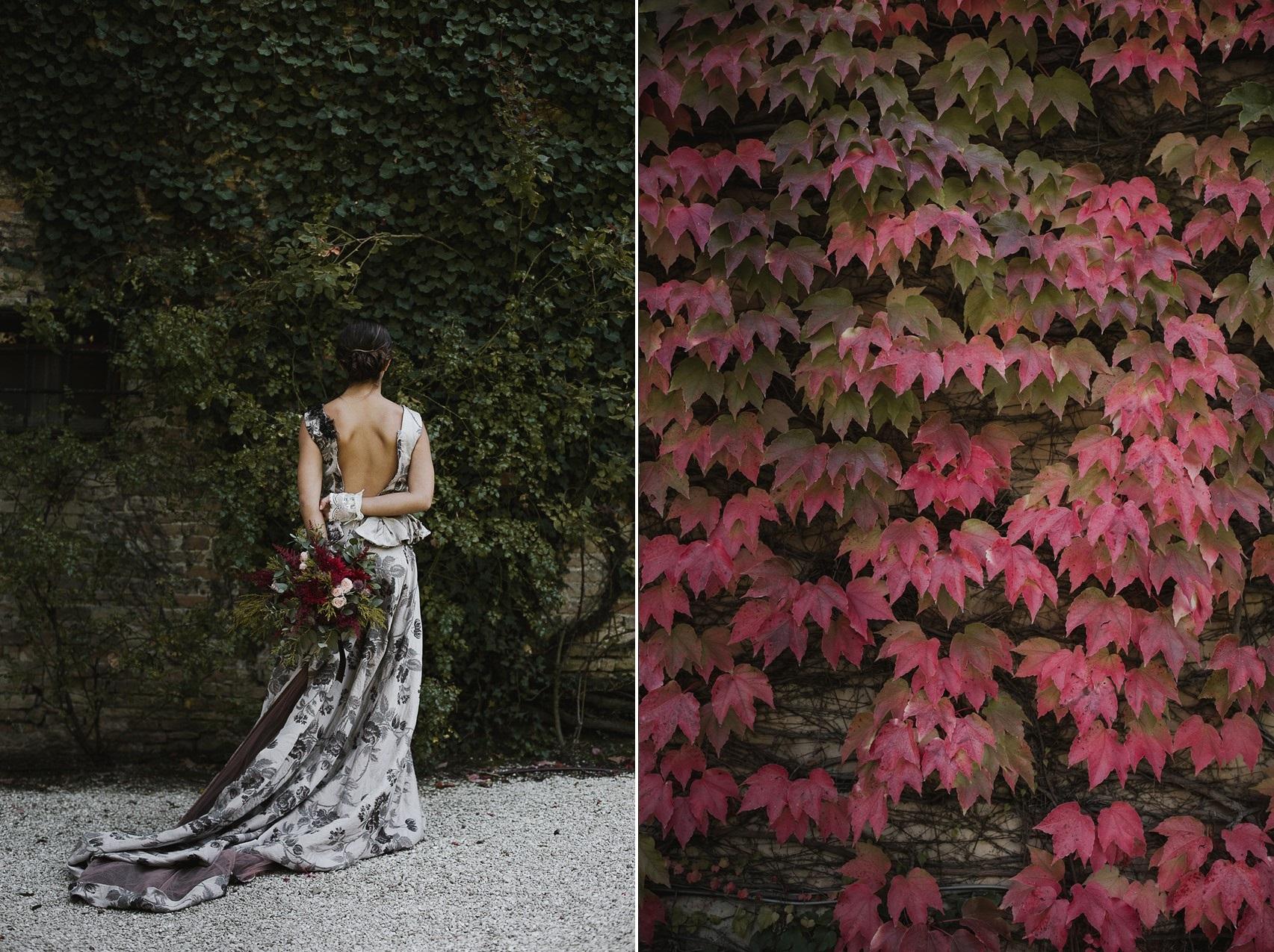 Unique Black & White Floral Wedding Dress