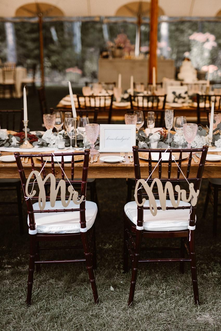 Mr & Mrs Wedding Reception Chair Signs