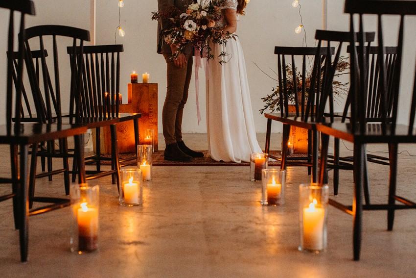 Romantic Fall Indoor Wedding Ceremony Lighting
