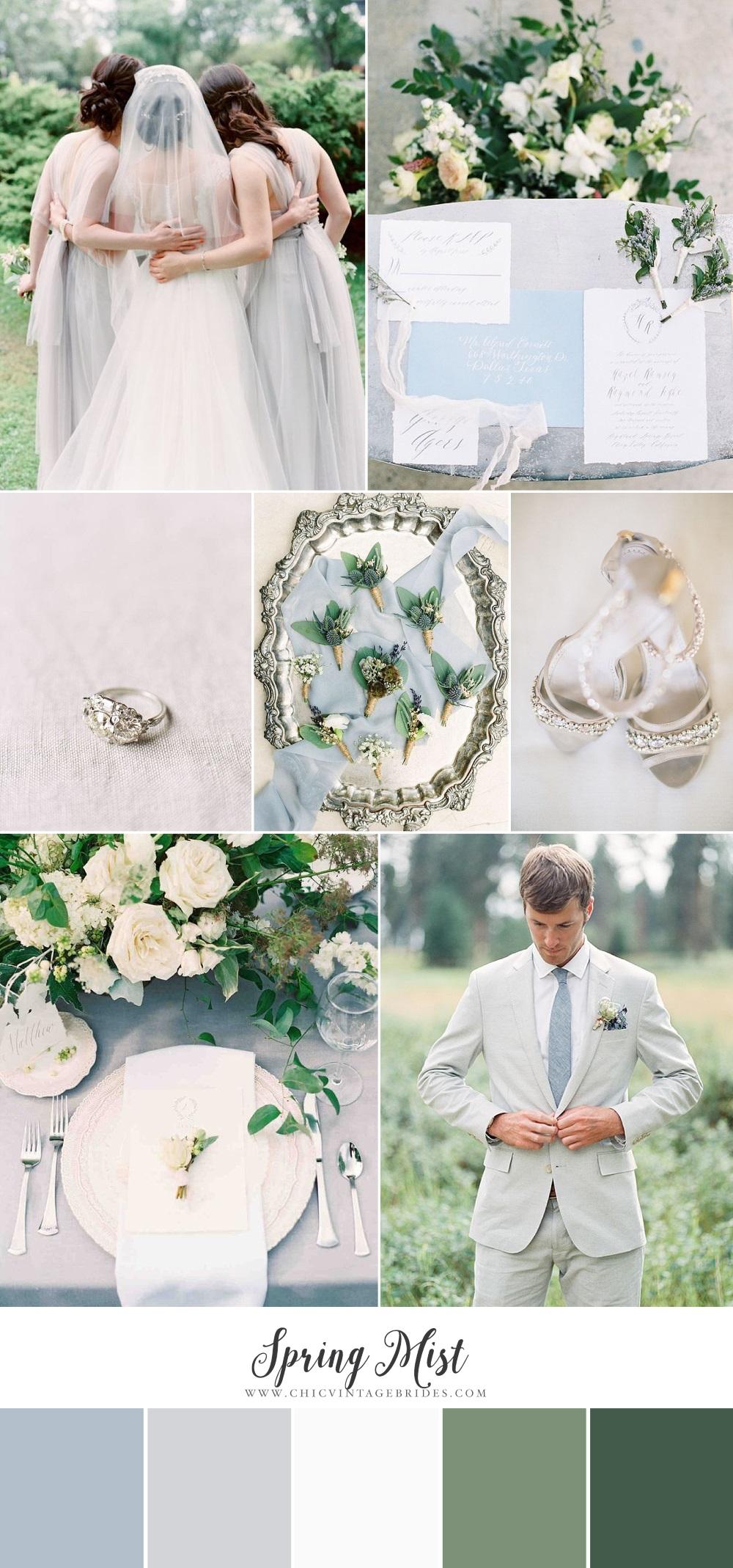 Spring Mist - Blue & Grey Wedding Inspiration Board