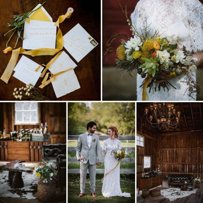 Yellow Rustic Vintage Barn Wedding Inspiration