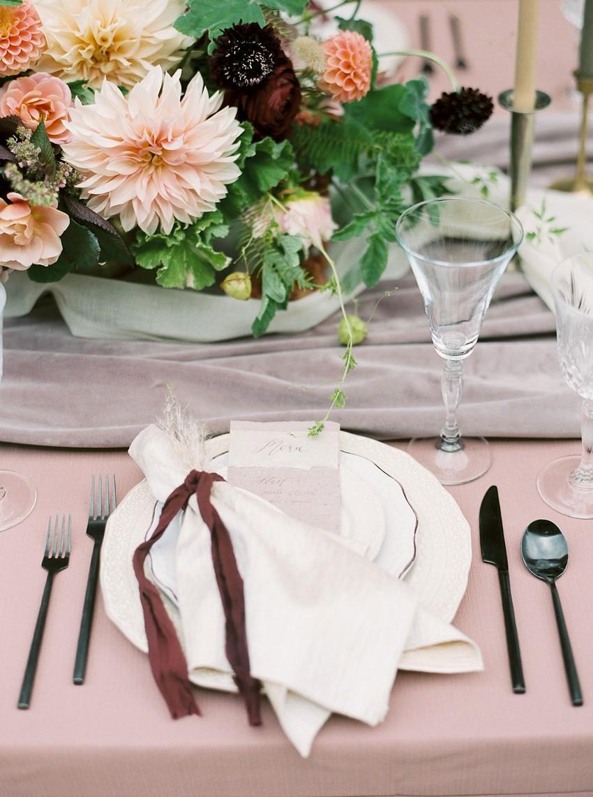 Dusky Pink Wedding Place Setting