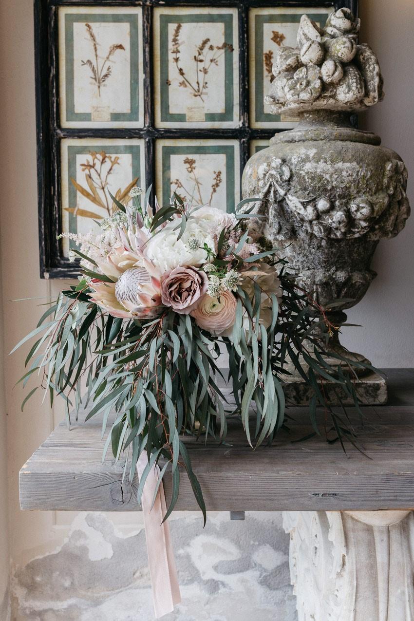 Pale Pink Protea Bridal Bouquet