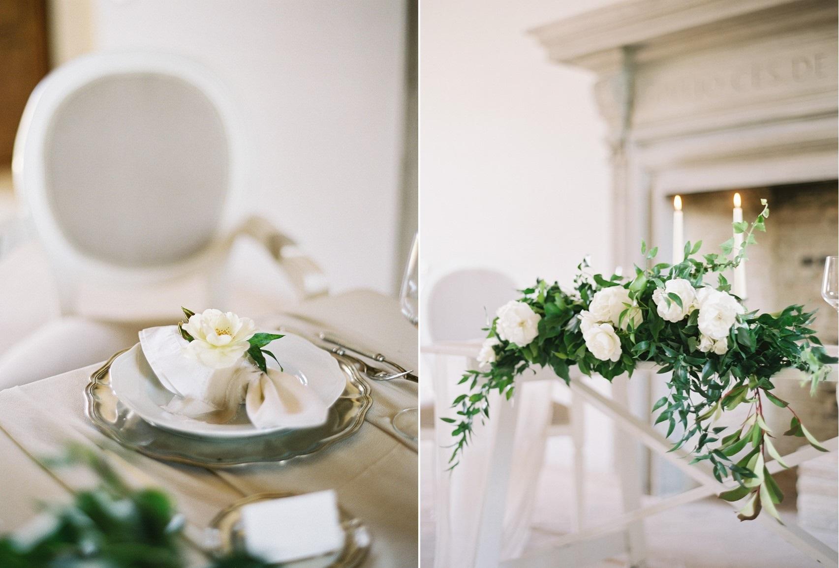 White & Greenery Wedding Table