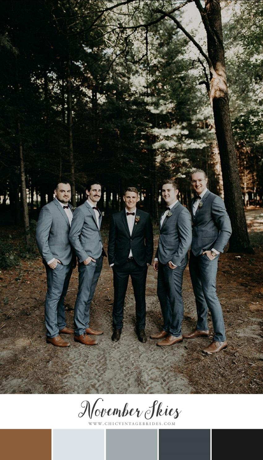 Grey Blue & Tan Fall Wedding Colour Palette