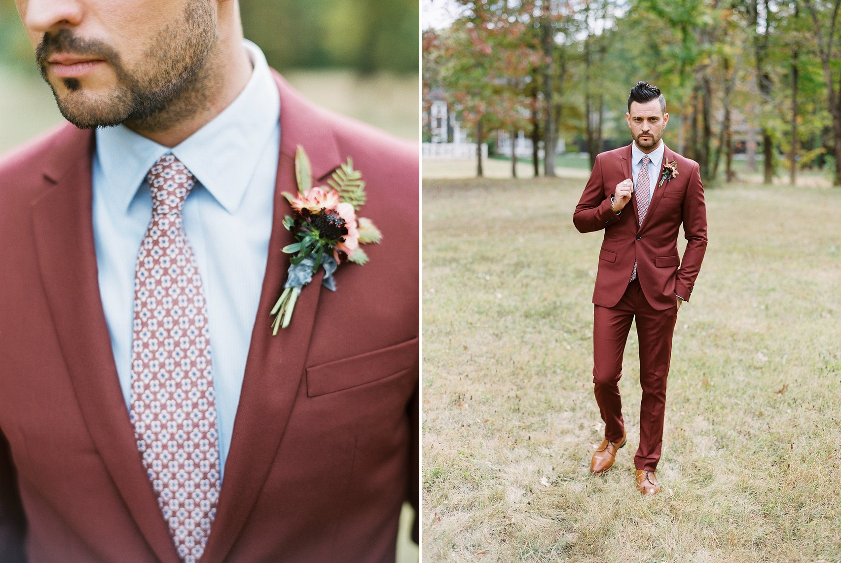 Groom in Burgundy Red