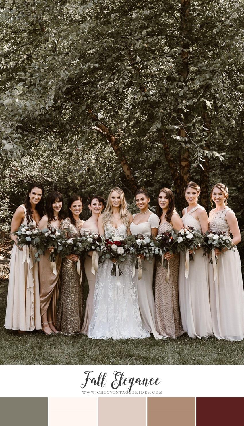 Neutrals & Scarlett Fall Wedding Colour Palette