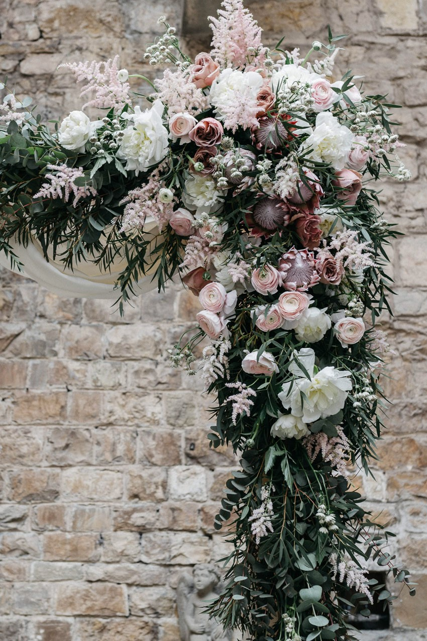 Italian Castle Wedding Ceremony Flowers
