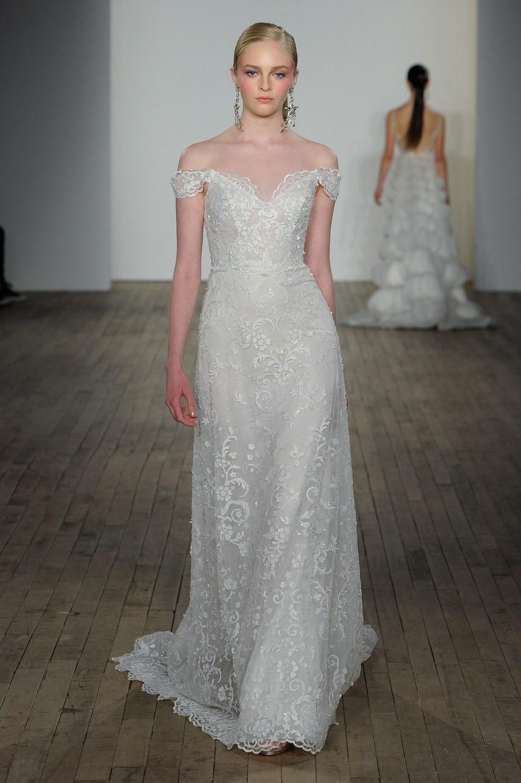 2019 Bridal Trends - Off Shoulder Sleeves Lazaro Fall 2019 Bridal