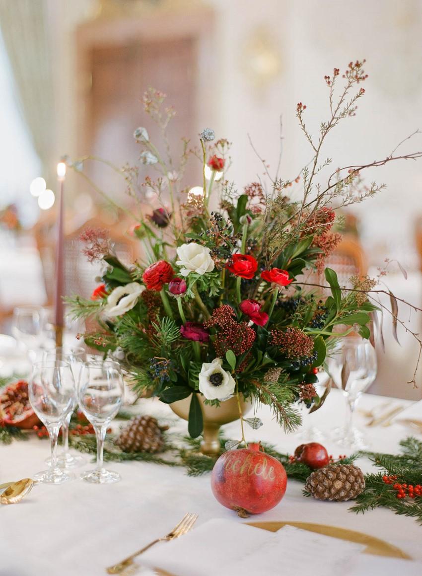 Christmas Wedding Floral Centerpiece