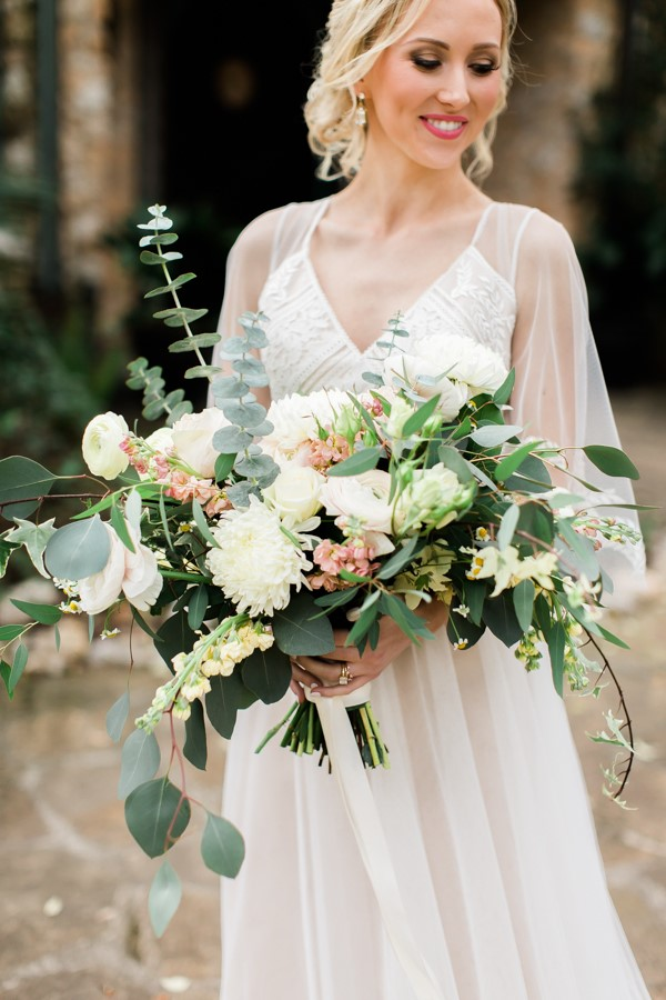 Lush Peach & White Bridal Bouquet