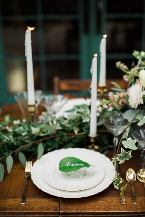 Green Vintage Wedding Place Setting