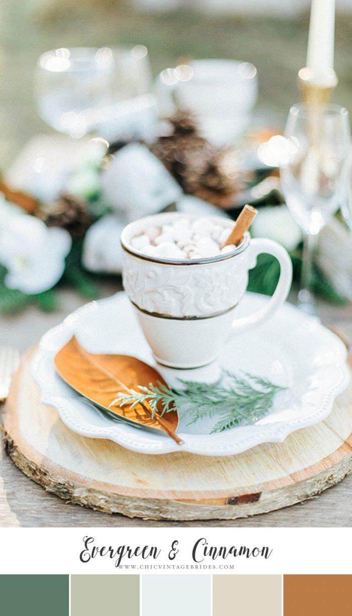 Evergreen & Cinnamon Winter Wedding Colour Palette