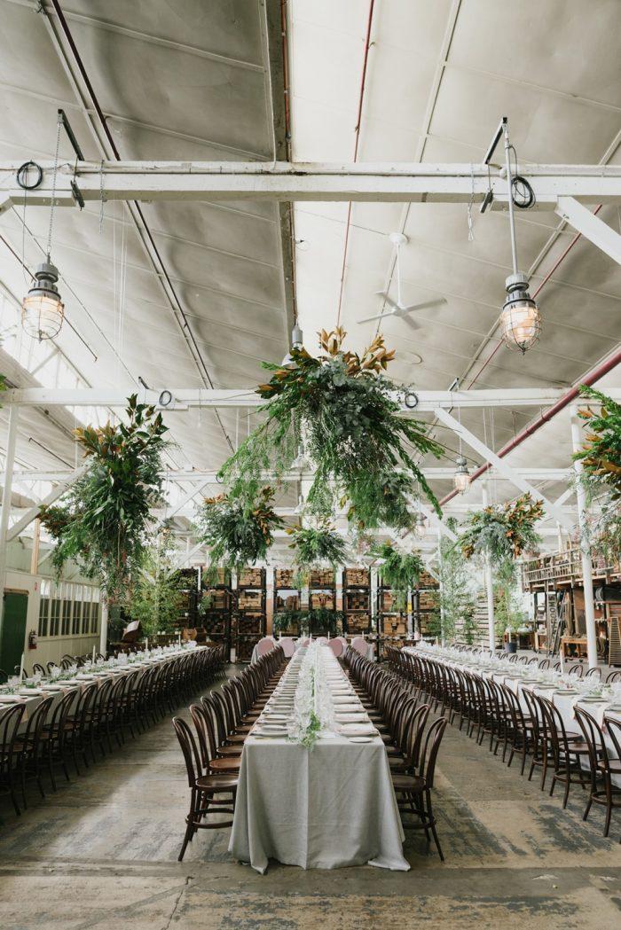 Industrial Greenery Filled Wedding Reception