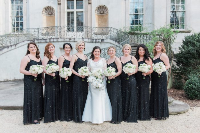 Bridesmaids in Black Maxi Dresses