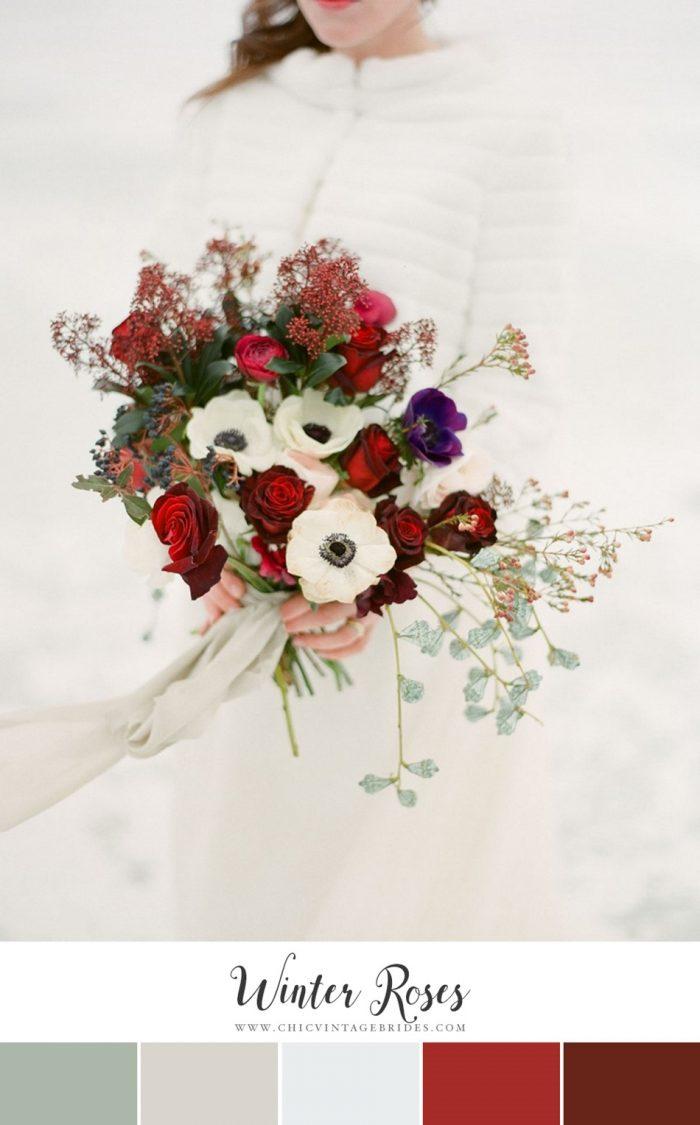 Winter Roses Wedding Colour Palette