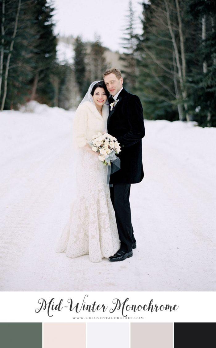 Mid-Winter Monochrome Wedding Colour Palette