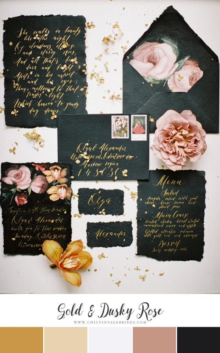 Gold & Dusky Rose Wedding Colour Palette