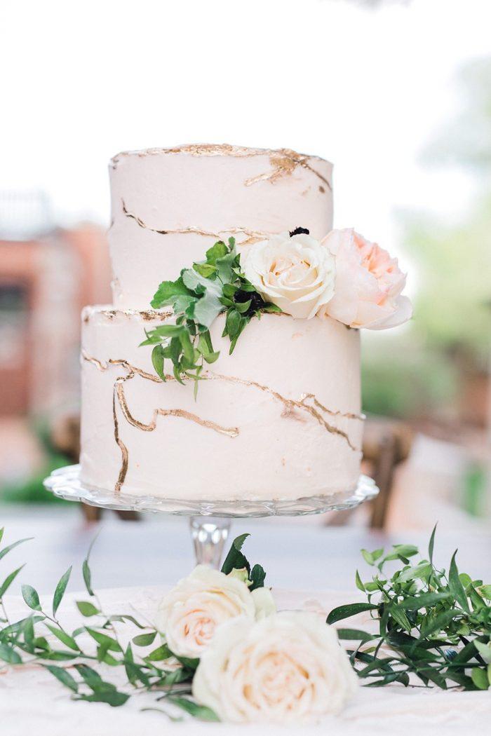 Blush Spring Garden Naked Wedding Cake
