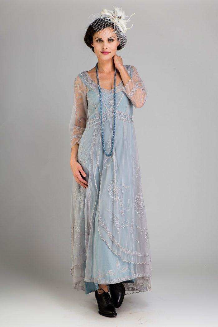 Dusky Blue Vintage Inspired Dress