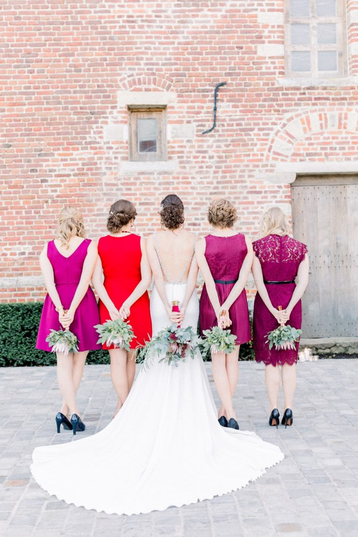 Mismatched Pink & Red Bridesmaids
