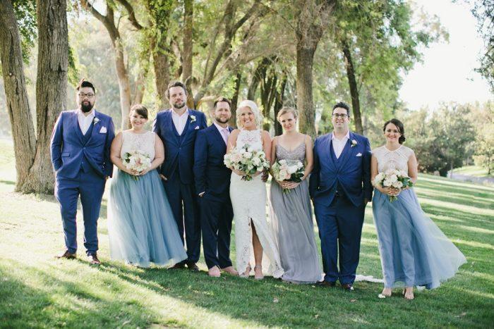 Mismatched Dusky Blue Bridesmaids
