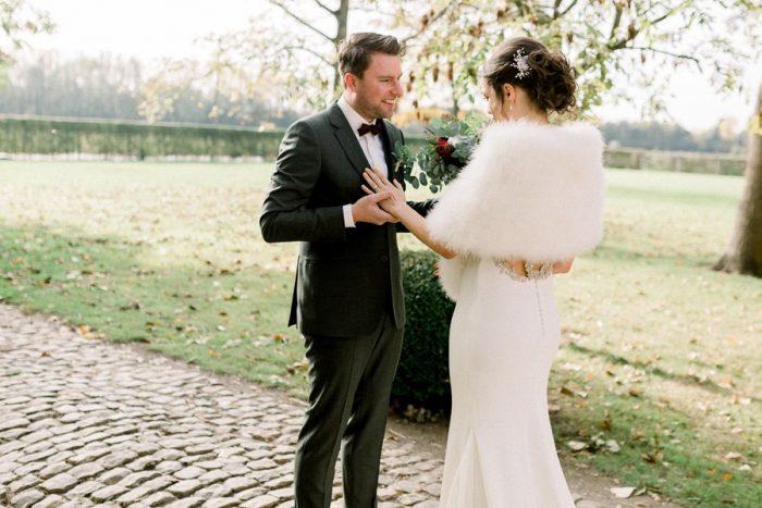 Romantic Winter Wedding First Look